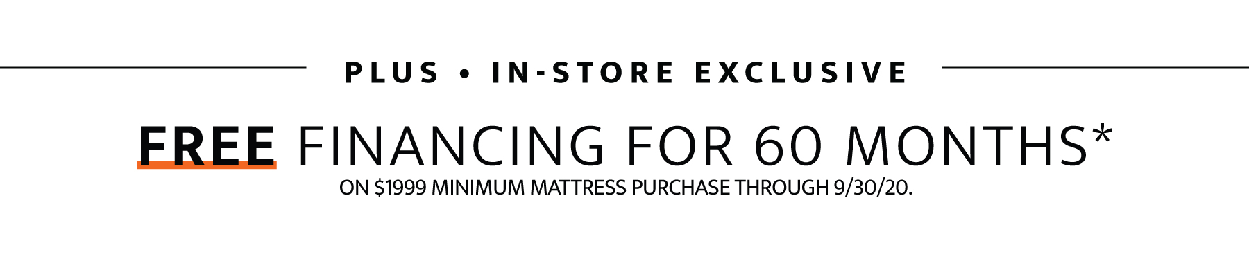 Plus in-store exclusive free financing